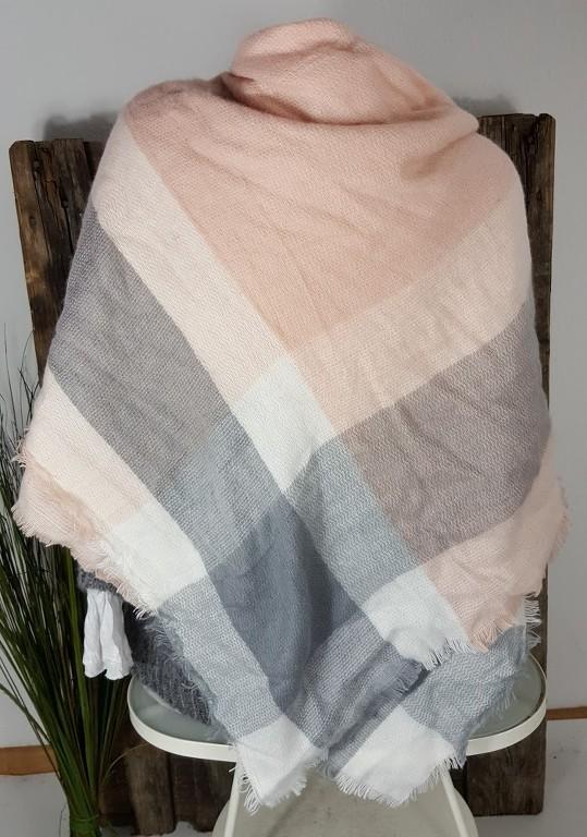 neu xxxl scarf schal karo plaid kariert kuschelweich wolle rosa grau 140 x140 ebay. Black Bedroom Furniture Sets. Home Design Ideas