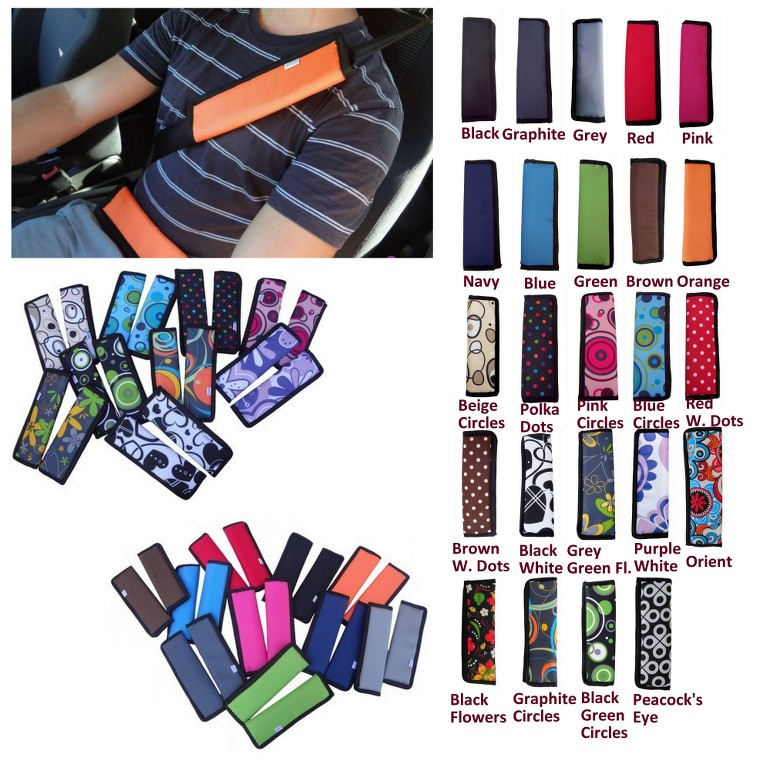 Car and Pram Safety Seat Belt Strap Shoulder Cover Harness Pad Pads Pack:1 or 2