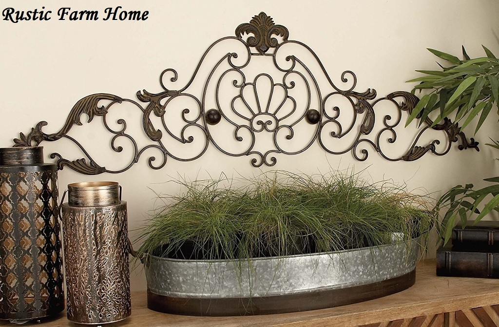 Classic Scroll Wrought Iron Metal Wall Decor Rustic Antique Indoor ...