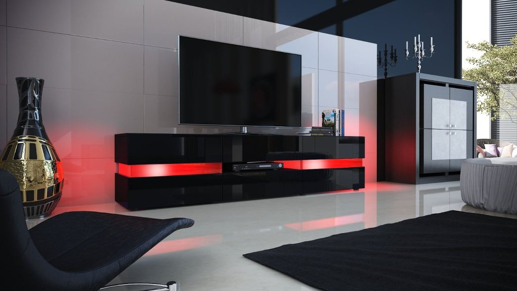 porta tv laccato bianco o nero faro mobile soggiorno moderno con illumiazione a led. Black Bedroom Furniture Sets. Home Design Ideas