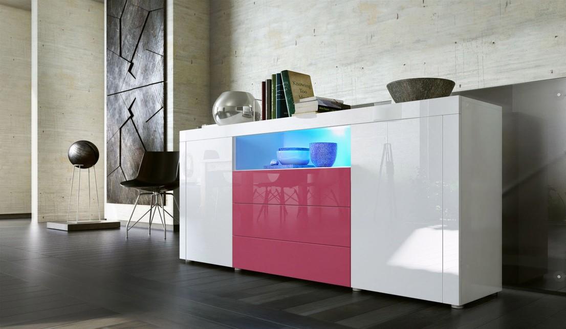 madia moderna collezione diego c1, mobile sala,soggiorno ... - Soggiorno Fucsia