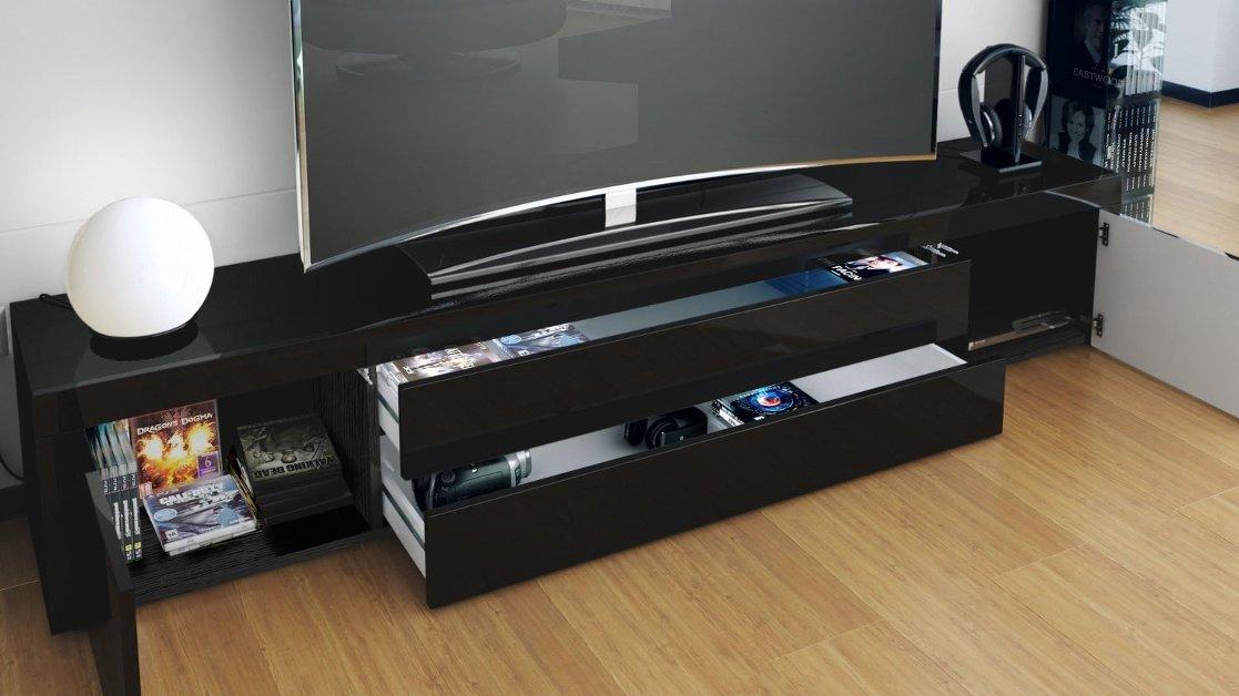 Umago mobile porta tv nero soggiorno sala hi fi dvd blu for Mobili tinello