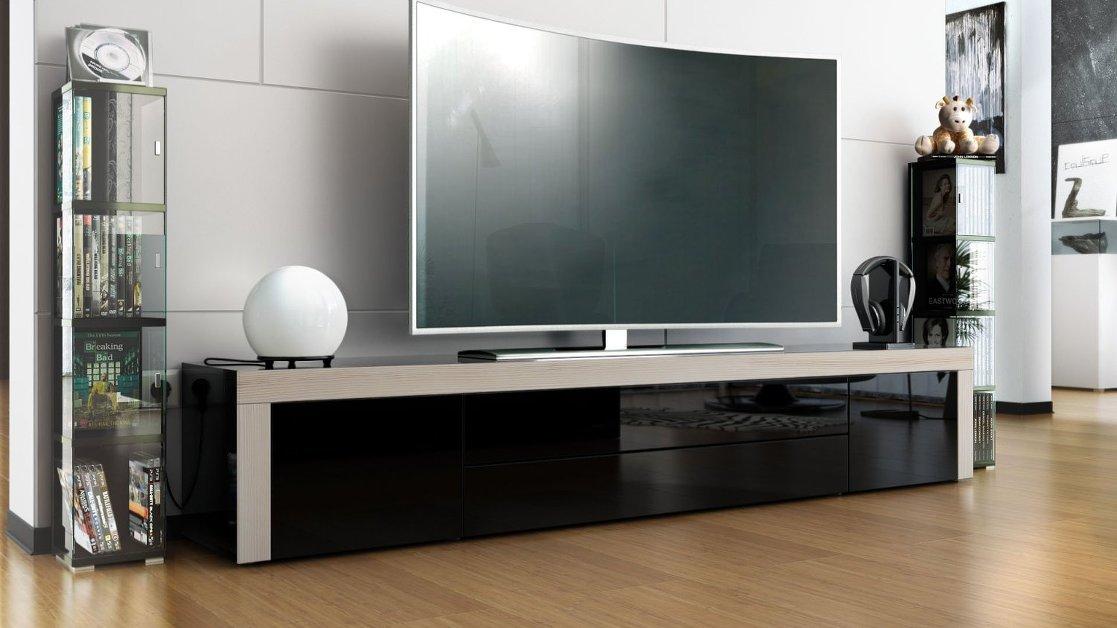 Umago mobile porta tv nero soggiorno sala hi fi dvd blu for Mobile moderno sala