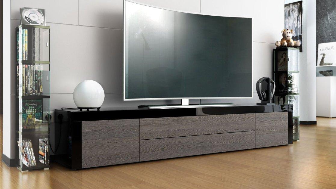 Umago Mobile porta tv nero soggiorno, sala hi fi dvd blu-ray cm. 200 ...