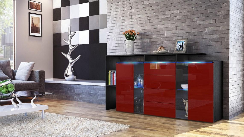 Credenza Moderna Con Led : Lecce credenza moderna mobile soggiorno con led bianco o nero
