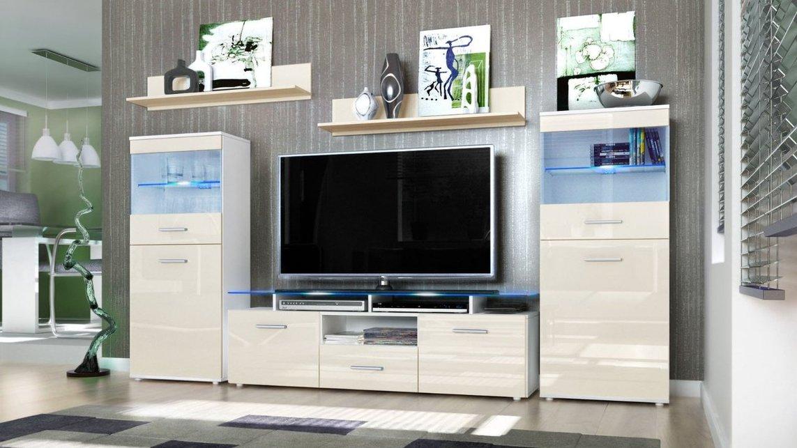 Parete Porta Tv Moderna Agata Mobile Soggiorno Bianco In