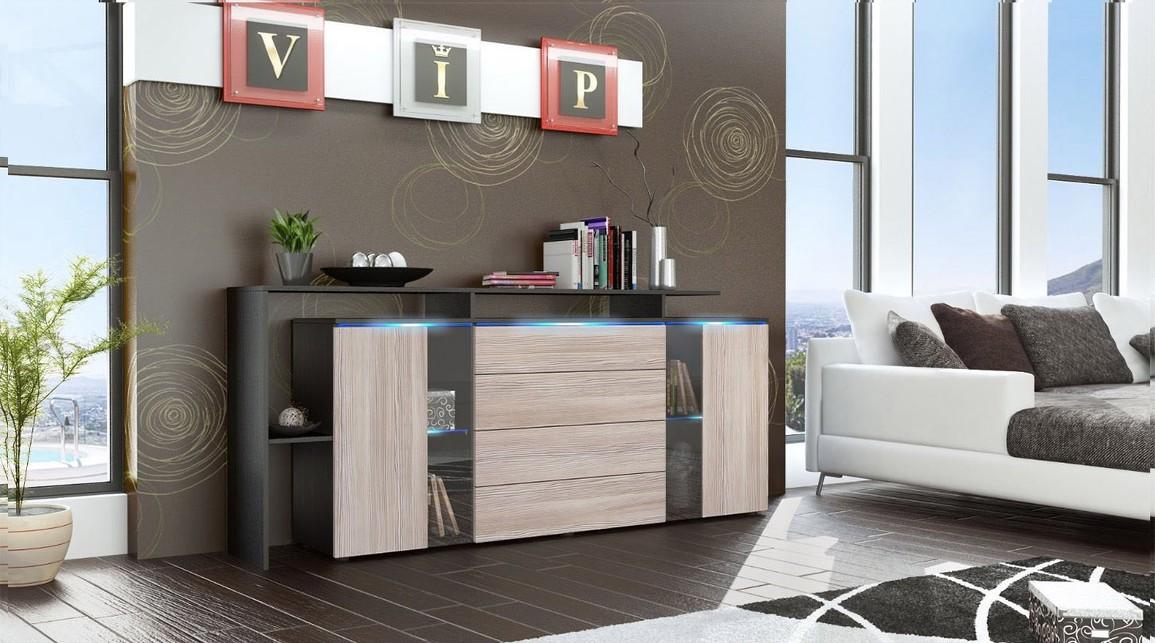 Credenza Moderna Led : Lecce credenza moderna mobile soggiorno con led bianco o nero
