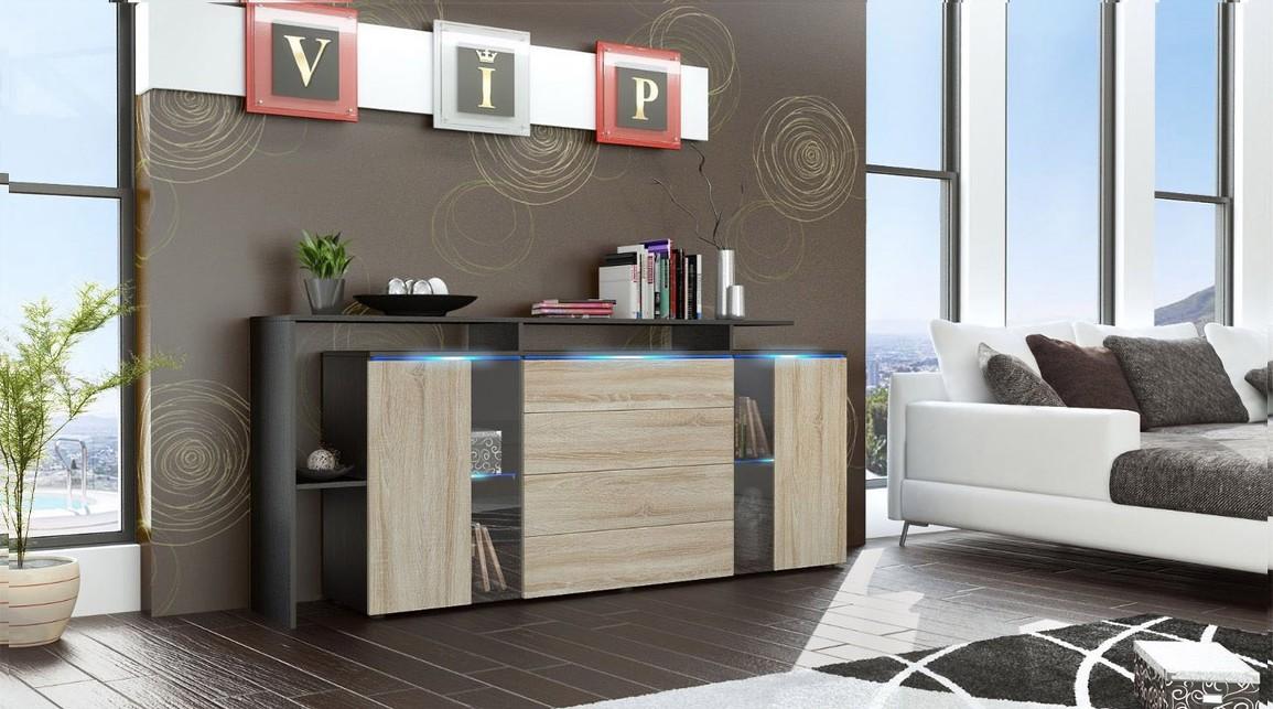 Credenza Moderna Lecce : Lecce credenza moderna mobile soggiorno con led bianco o nero