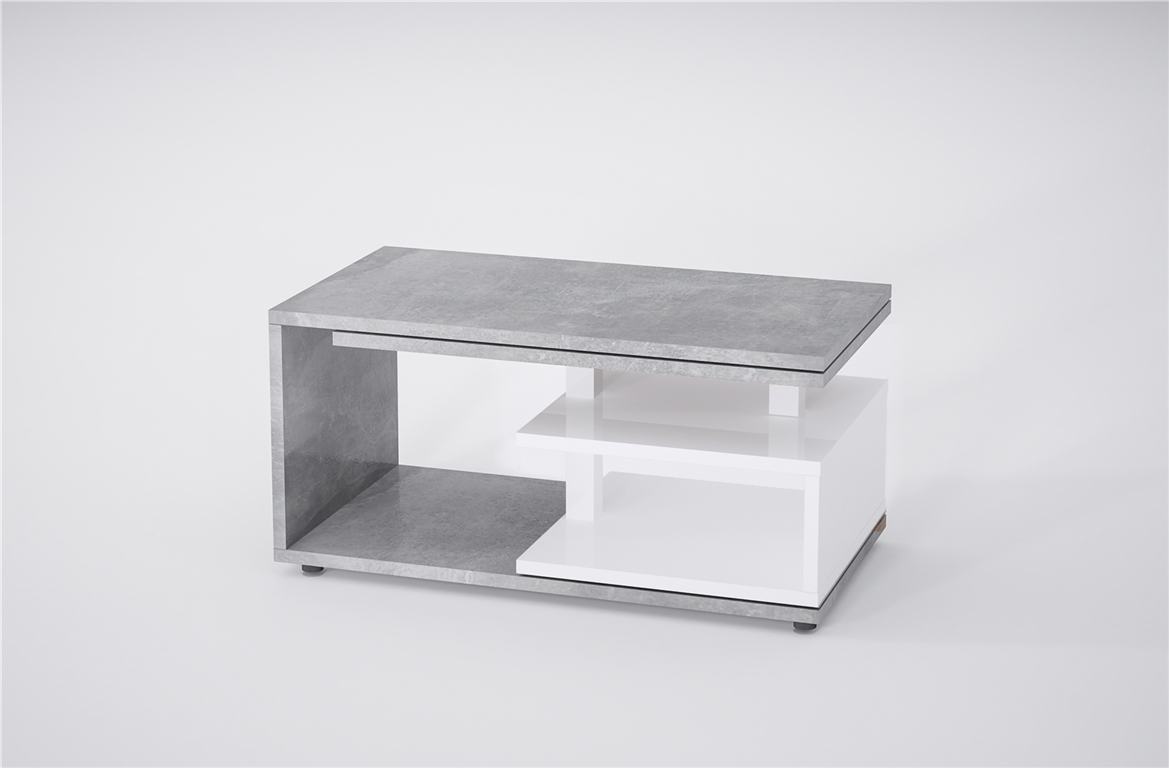 design couchtisch beton wei sofatisch drehbar ausziehbar funktion bi colour ebay. Black Bedroom Furniture Sets. Home Design Ideas