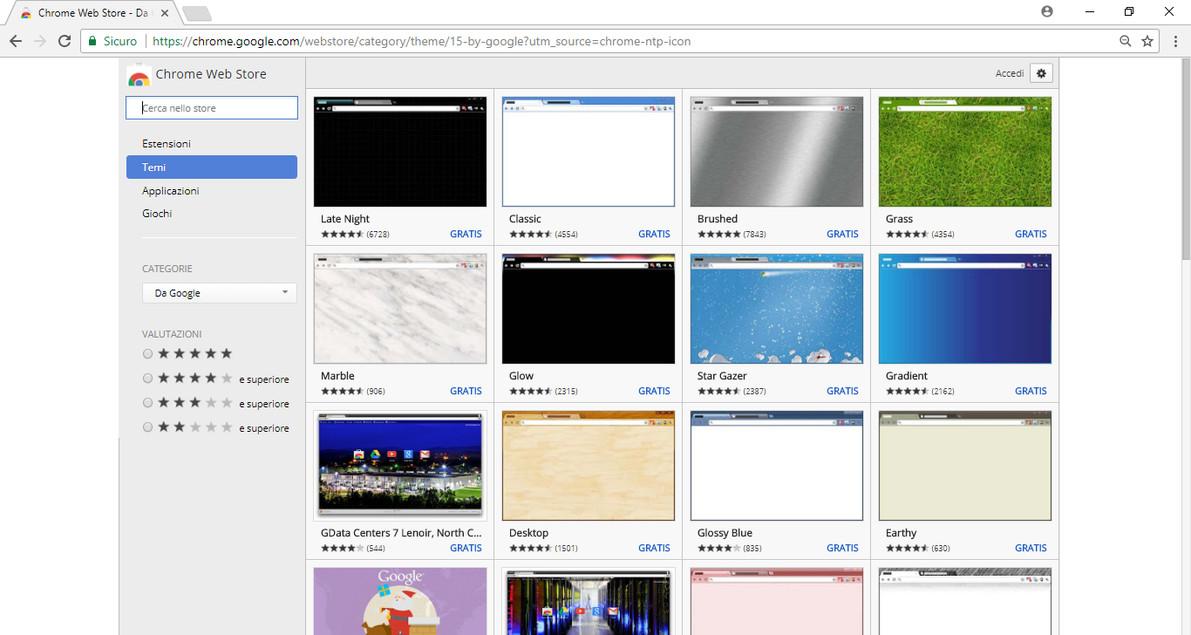 Cambiare sfondo su google chrome