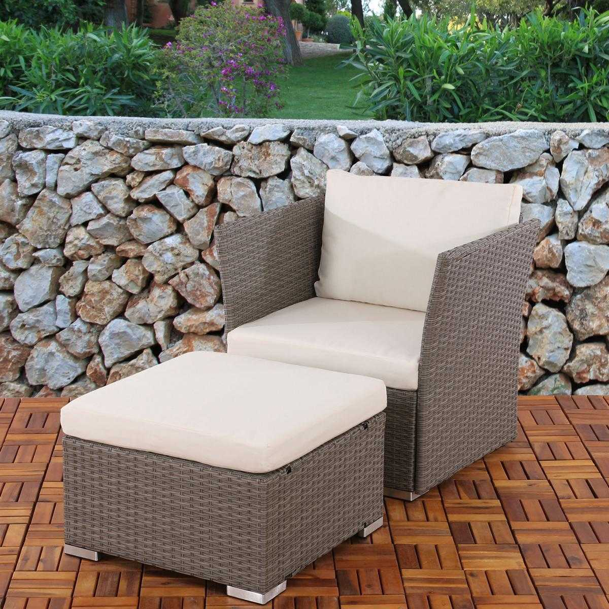 polyrattan grau creme garten sessel poly rattan gartensessel mit hocker ottomane ebay. Black Bedroom Furniture Sets. Home Design Ideas