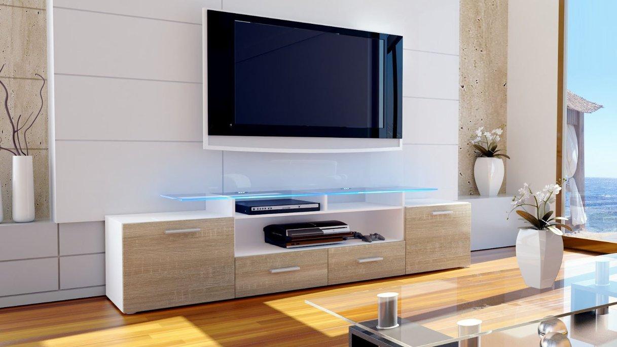 Valentino mobile porta tv bianco rovere segato moderno soggiorno ...