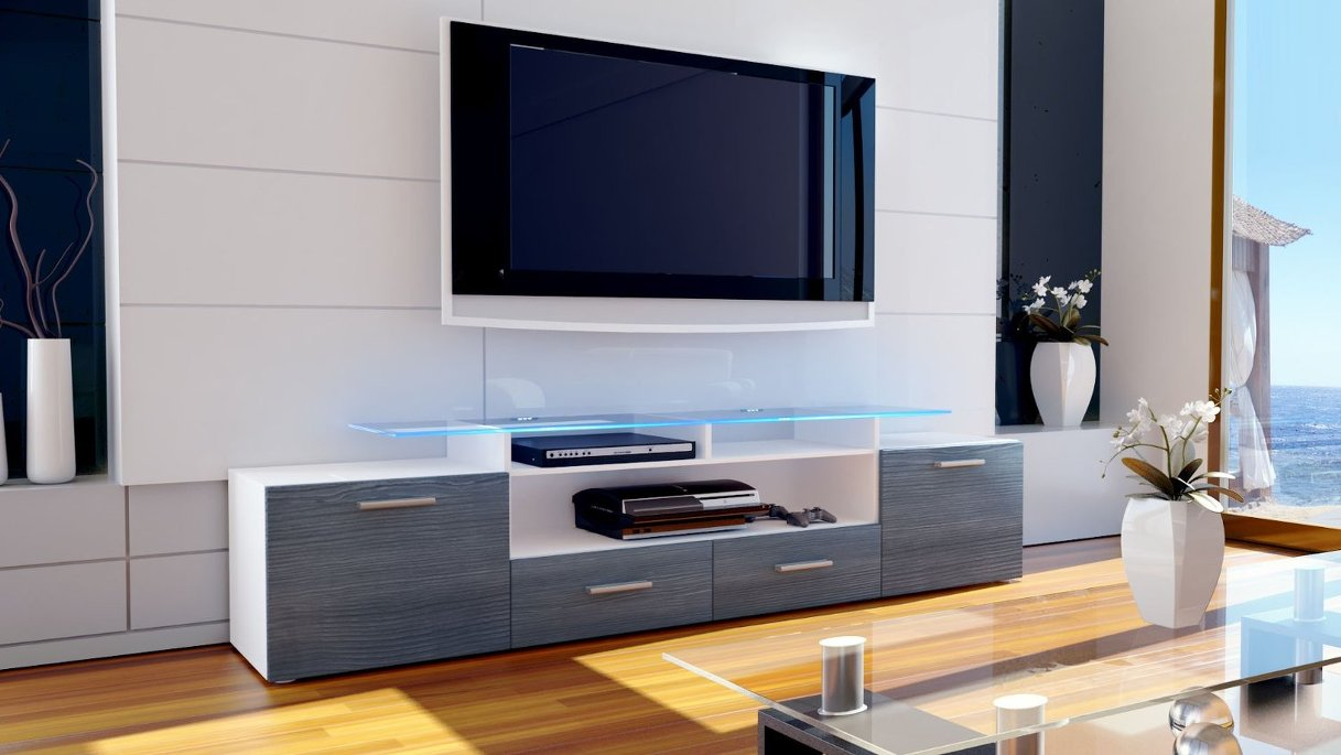 Valentino mobile porta tv bianco avola antracite (rovere ...
