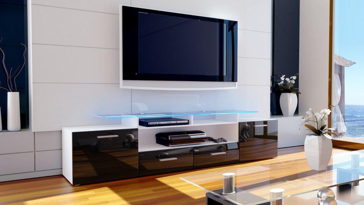 Valentino mobile porta tv bianco nero lucido moderno ...