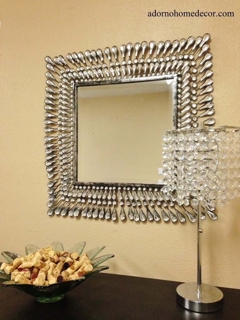 Metal Wall Square Crystal Mirror Rustic Modern Crystal Chic Wall ...