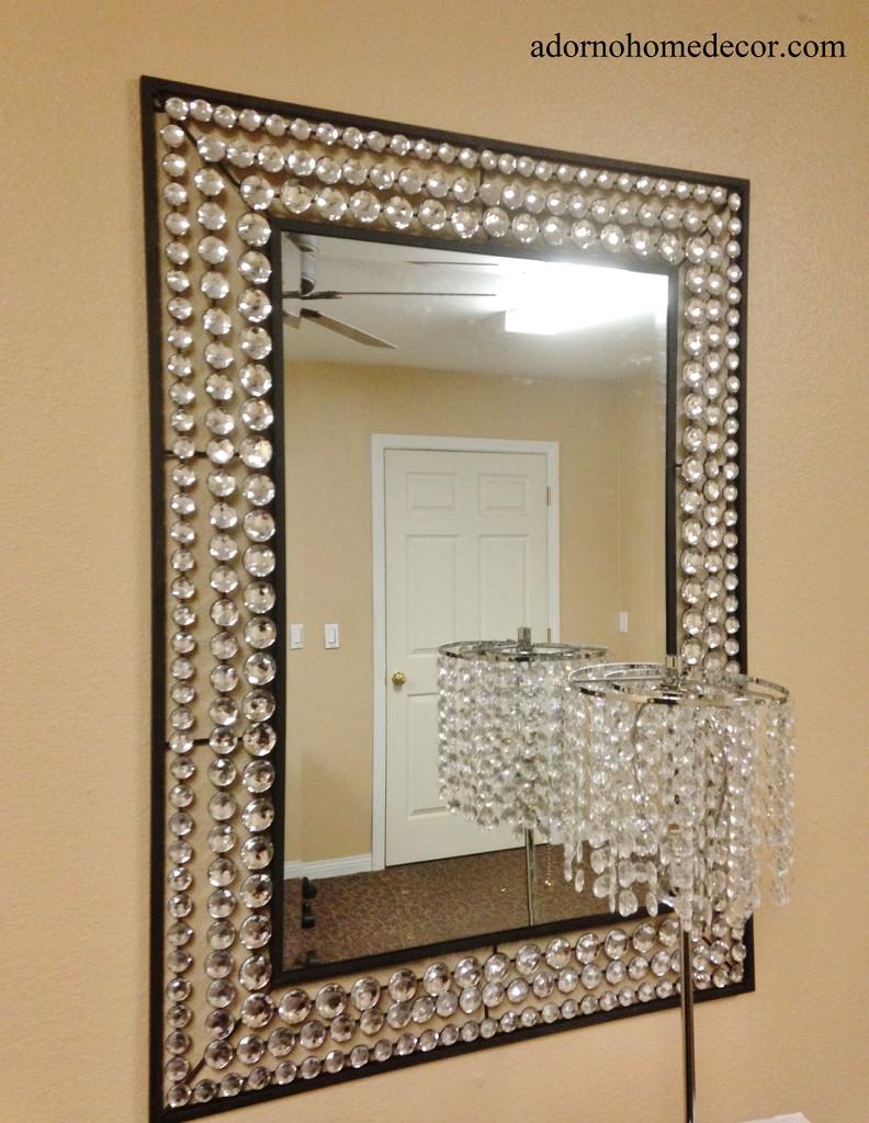Large Metal Wall Crystal Jewel Mirror Rustic Modern Chic ...