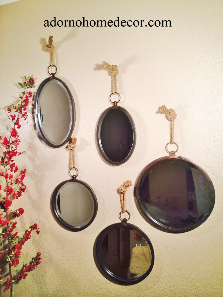metal round oval rope mirror set accent rustic chic unique vintage wall decor ebay. Black Bedroom Furniture Sets. Home Design Ideas