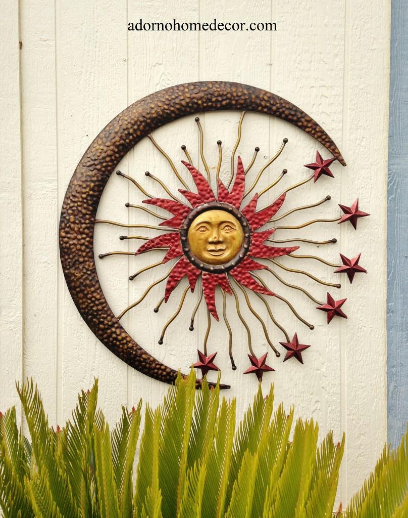 Large Metal Celestial Moon Sun Decor Garden Art Indoor ...
