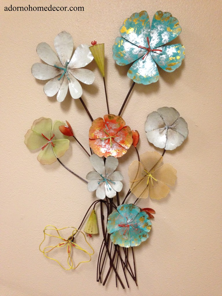 Colorful Metal Flowers Wall Decor Cottage Shabby Modern ...
