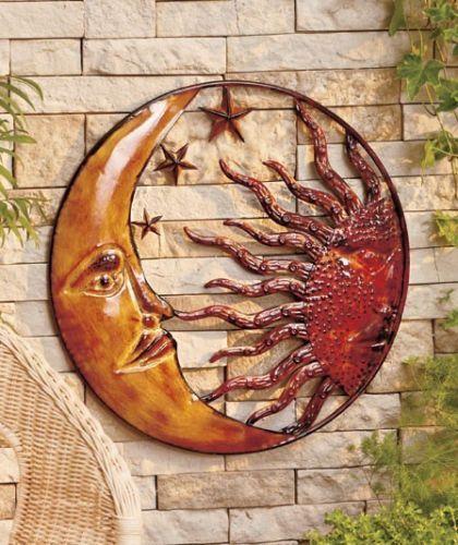 Metal Celestial Moon Sun Decor Garden Art Indoor Outdoor