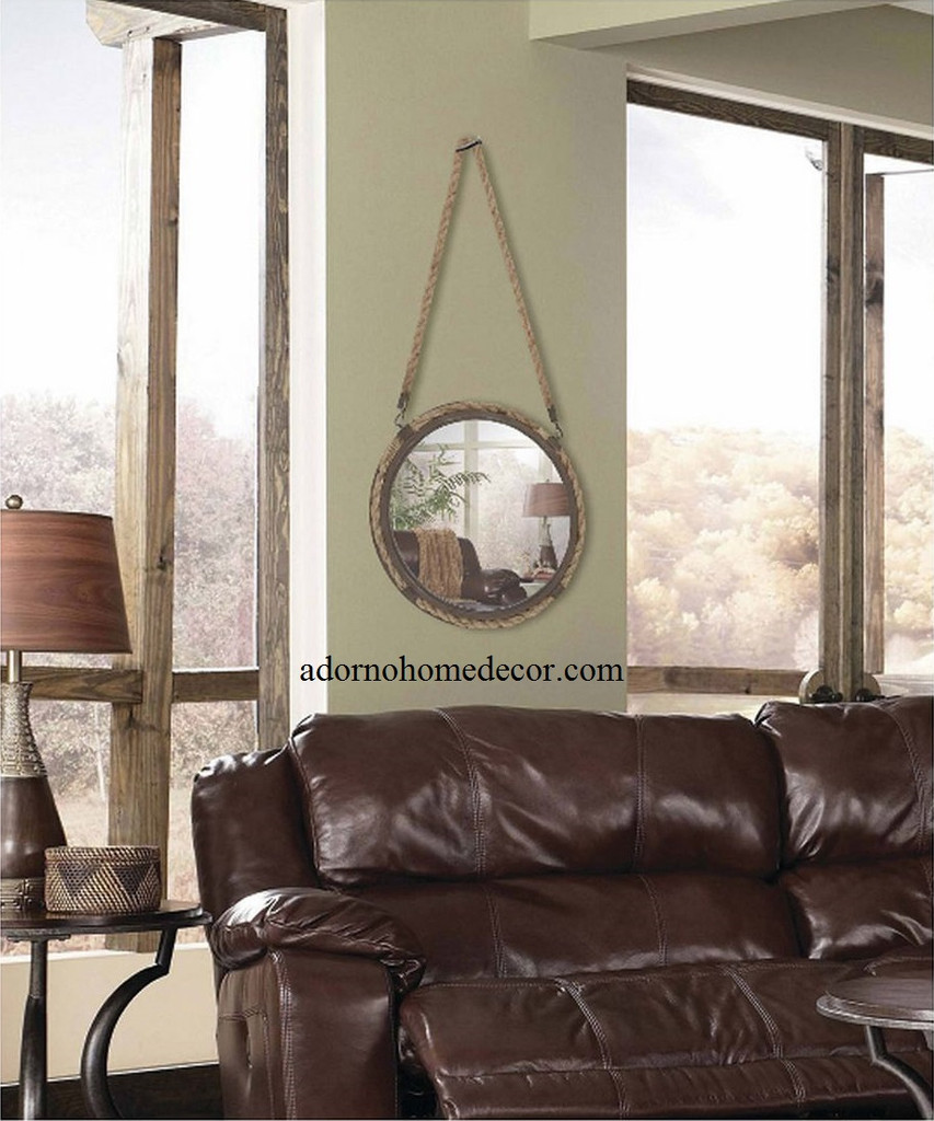 Small rustic rope round mirror accent metal wall decor for Hanging a large mirror