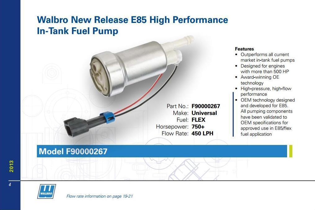 Walbro High Pressure /& High Flow Universal Fuel Pump /& Install kit #41