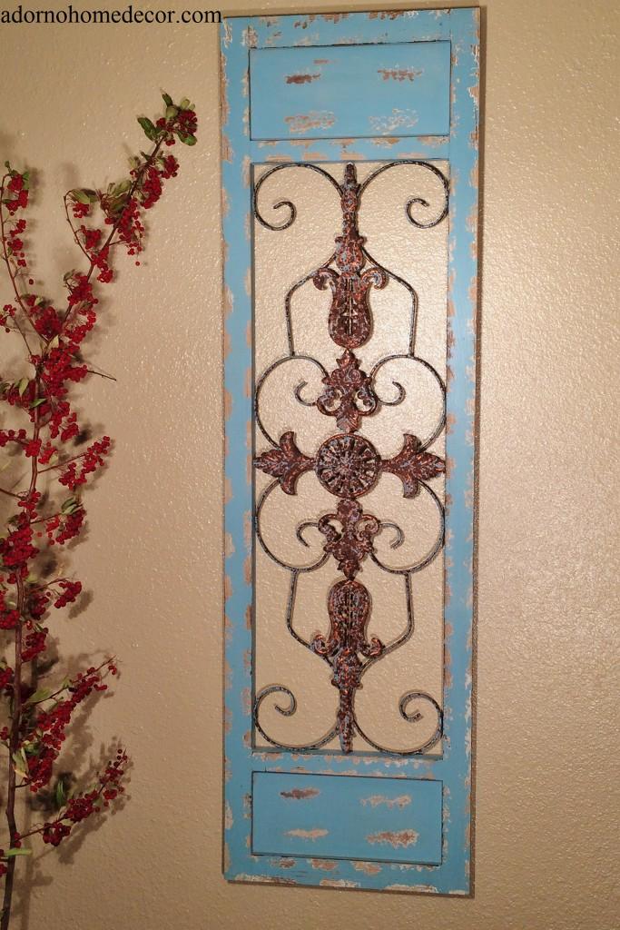 Vintage Wood Paneling: Metal Wood Blue Wall Panel Distressed Antique Vintage