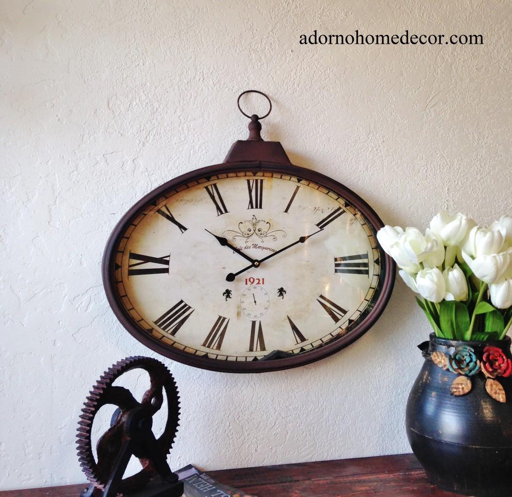 Rustic Metal Oval Wall Clock Old World Industrial Vintage