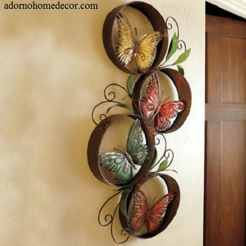 metal round butterfly wall decor art garden unique indoor outdoor patio decor ebay. Black Bedroom Furniture Sets. Home Design Ideas
