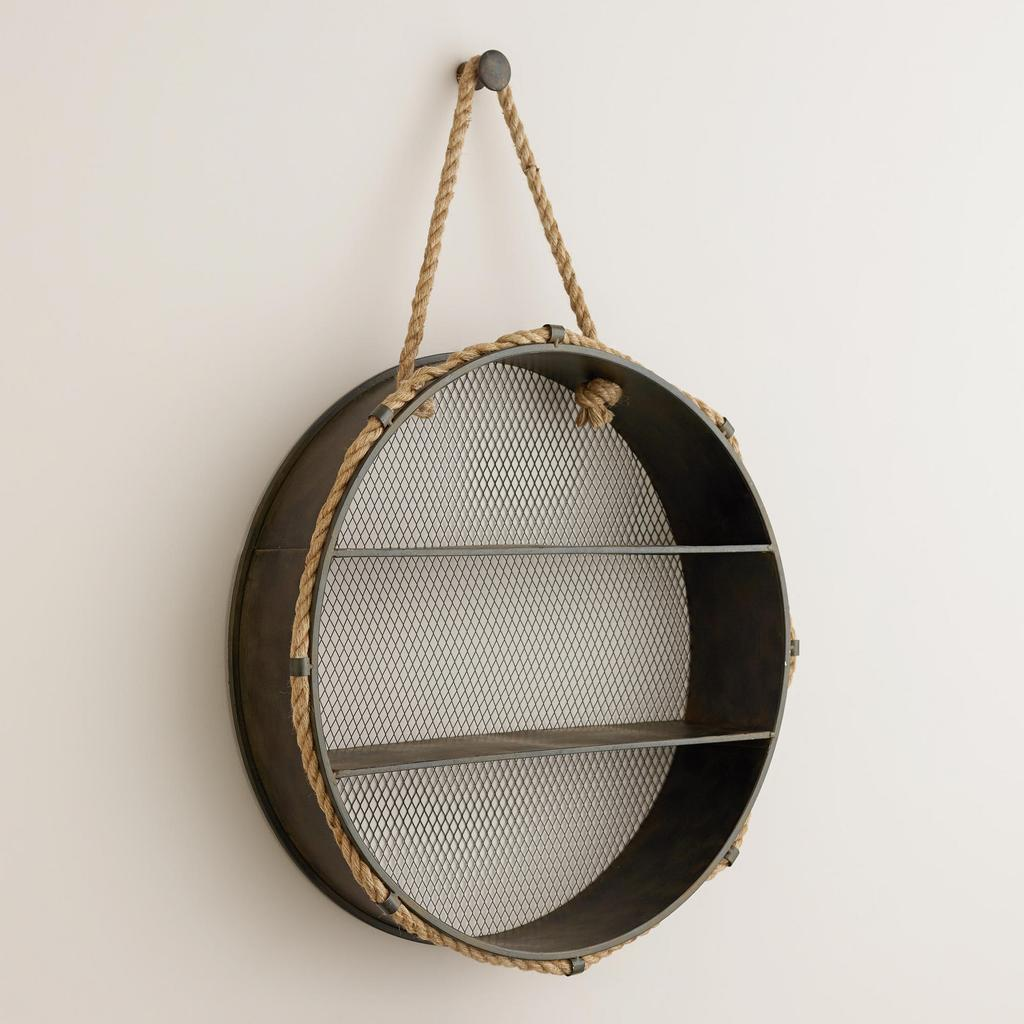 Add A Unique Charm To Your Home With This Round Shaped Rope Wall Shelf.  With A Mesh Wire Backing, Our Round Metal Wall Storage Hangs From A Natural  Jute ...