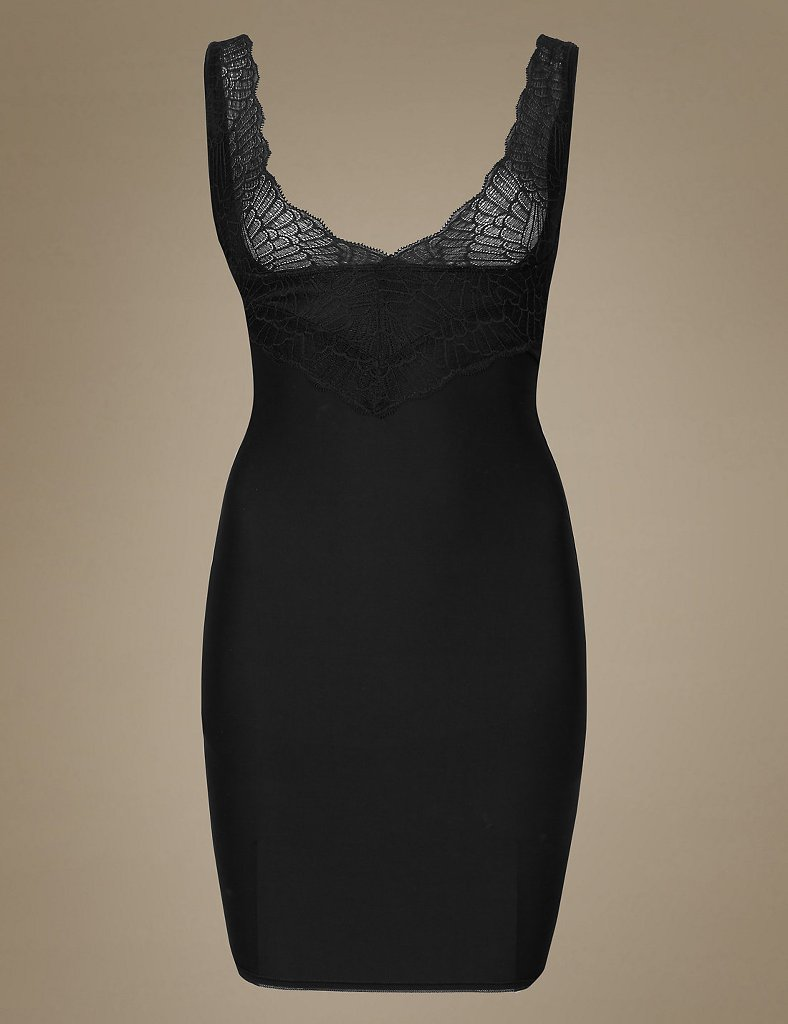 M /& S SHAPING SLIP /'WEAR YOUR OWN BRA /' FIRM CONTROL BLACK MARKS /& SPENCER