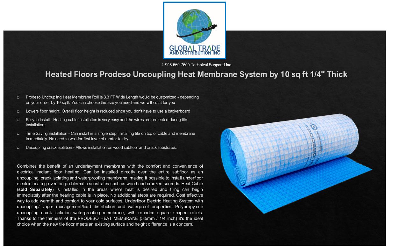 "Prodeso Uncoupling Heat Membrane System 161.5 Sqft 3/'3/"" x 49/'3/"" Heated Floors"