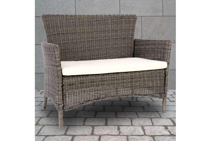 gartenbank polyrattan grau bank garten gartensofa lehne neu sitzbank naturgrau ebay. Black Bedroom Furniture Sets. Home Design Ideas