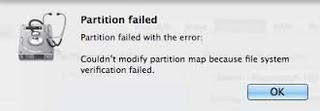 MacBook Partition Failed Insight Output Error