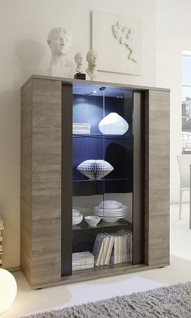 Vetrina moderna astro v credenza colore grigio adamello e grigio opaco mobile per soggiorno - Mobile vetrina moderno ...