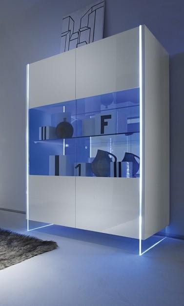 Lux 06 vetrina moderna bianca laccata lucida credenza moderna mobile soggiorno - Vetrina soggiorno moderna ...