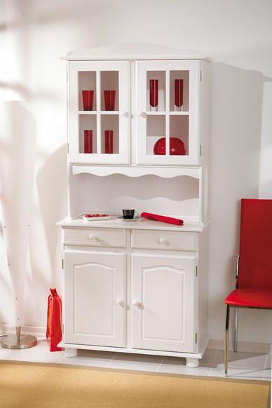 Fiona vetrina classica bianca, mobile sala,cucina in legno massello