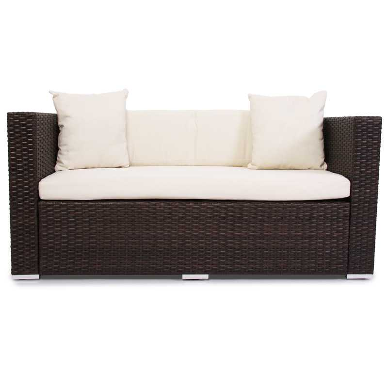 polyrattan garten braun gartensofa poly rattan sofa lounge outdoor braunes neu ebay. Black Bedroom Furniture Sets. Home Design Ideas