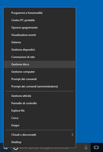 Gestione disco 2: partizionare il disco su Windows 10