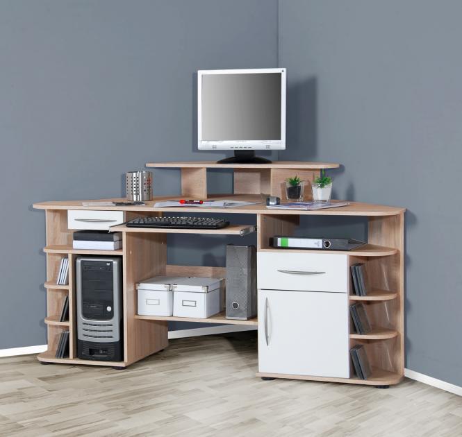 eck schreibtisch sonoma eiche wei eckschreibtisch computertisch pc computer ebay. Black Bedroom Furniture Sets. Home Design Ideas
