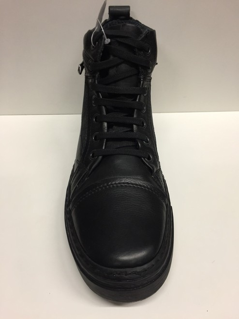 SCARPE SNEAKERS ALTE CANGURO ORIGINALI E015-390 NERO PELLE SHOES MAN LEATHER A/I