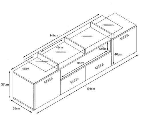 valentino, grande mobile porta tv bianco. dimensioni in cm (lxaxp ... - Misure Soggiorno