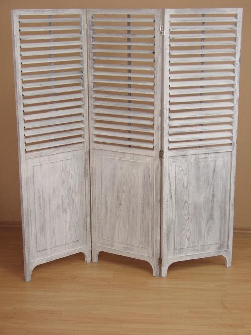 paravant massivholz used look wei mit lamellen paravent raumtrenner raumteiler ebay. Black Bedroom Furniture Sets. Home Design Ideas
