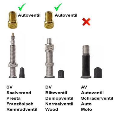 4xVA Fahrrad Ventil-Adapter DV SV Französisches  Dunlop Autoventil AV KFZ Pumpe
