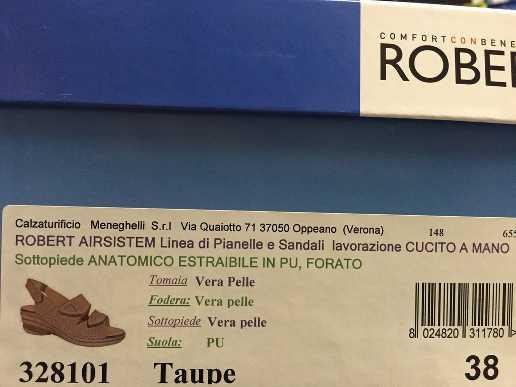 SCARPE SANDALI DONNA ROBERT ORIGINALI 328101 TAUPE PELLE LEATHER SHOES SANDALS