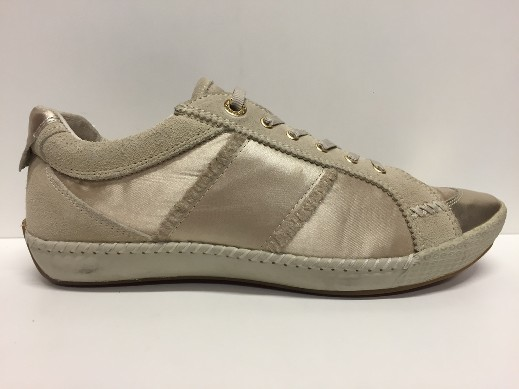 SCARPE SNEAKERS DONNA GEOX ORIGINALE NUIT D7105Q BEIGE ORO PELLE SHOES LEATHER