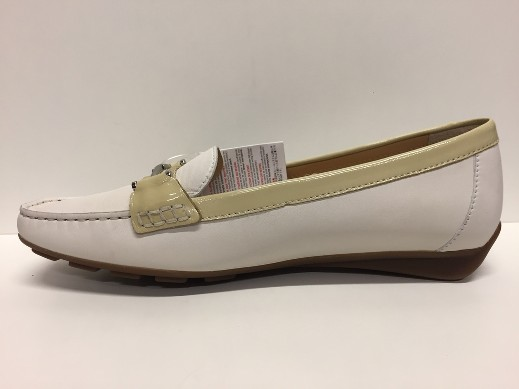 SCARPE MOCASSINI DONNA GEOX ORIGINAL GRIN D0142Z BIANCO PELLE SHOES LEATHER GIRL