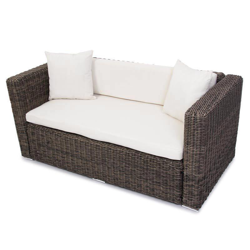 Polyrattan grau garten gartensofa poly rattan sofa naturgrau lounge outdoor ebay Rattan sofa grau
