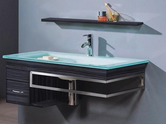 Mobile bagno sospeso herman lavandino in vetro specchio mensola e armadietto - Lavandino bagno vetro ...