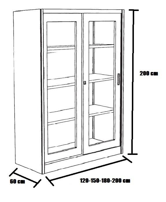 Armadio in metallo con porte con vetro per ufficio for Armadi x ufficio